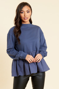 Blue Peplum Hem Sweat Top with Contrast Cotton Poplin Hem