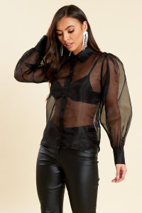 Black Organza Button Up Shirt with Puff Sleeves