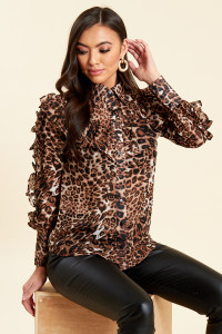 Leopard Print Button Up Ruffle Sleeve Blouse