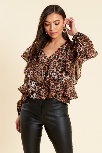 Leopard Print Button and Ruffle Blouse