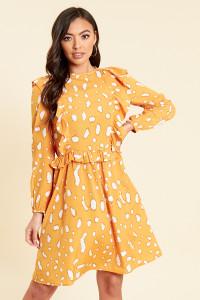 Mustard Abstract Splodge Print Smock Midi Dress with Ruffle Bib Detail