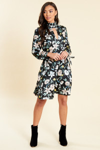 Black Floral Satin High Neck Keyhole Dress