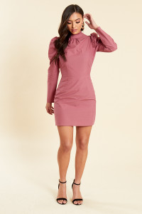 Dusky Rose Cotton Poplin Puff Sleeves Mini Shift Dress