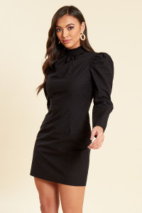 Black Cotton Poplin Puff Sleeves Mini Shift Dress