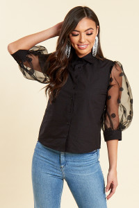 Black Button Up Shirt with Contrast Spot Organza Puff Sleeves