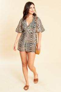 Leopard Print Georgette Kimono Sleeve Beach Playsuit