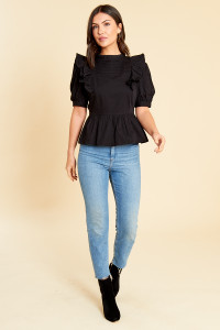 Black Cotton Poplin Peplum Hem Top with Puff Sleeve