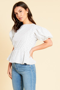 White Black Mini Polka Dot Peplum Hem Top with Puff Sleeves