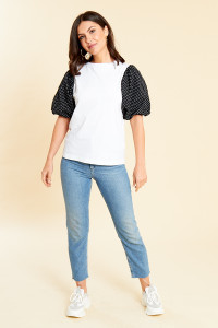 White Jersey T Shirt with Polka Dot Puff Sleeves