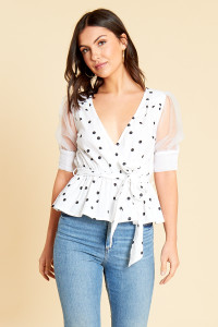 White Black Spot Cotton Poplin Wrap Top with Organza Sleeves