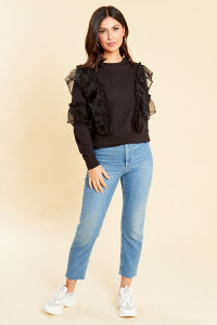 Black Long Sleeve Sweatshirt with Organza Ruffle Detail