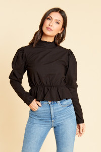 Black Cotton High Neck Poplin Peplum Hem Top