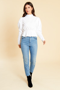 White Cotton High Neck Poplin Peplum Hem Top