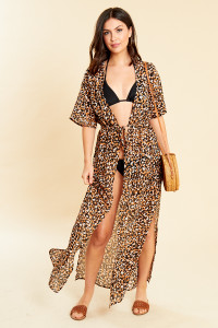 Leopard Print Tie Waist Maxi Beach kimono