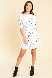 White Black Splodge Print Ruffle Detail Skater Dress