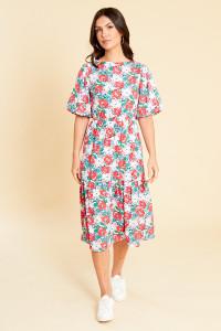 Multi Floral Print Back Detail Puff Sleeve Dropped Hem Midi Dress