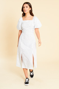 White Black Spot Cotton Milkmaid Style Midi Dress