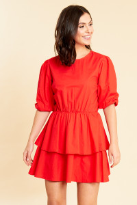 Red Cotton Poplin Puff Sleeve Double Layer Skirt Skater Dress