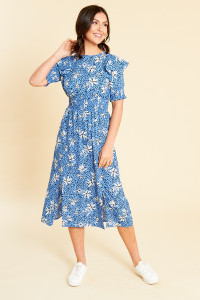 Blue Floral Shirred Waist Midi Dress with Puff Sleeves