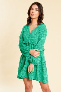 Green Black Splodge Print Button and Ruffle Detail Smock Dress