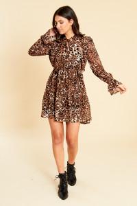 Leopard Print Ruffle Tie Neck Skater Dress