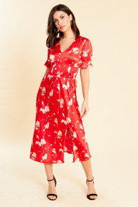 Red Floral Satin Base Shirred Waist Midi Dress