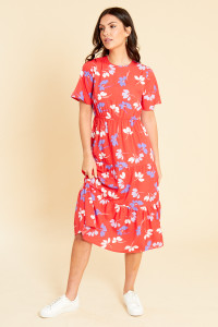 Red Floral Tiered Midaxi Dress