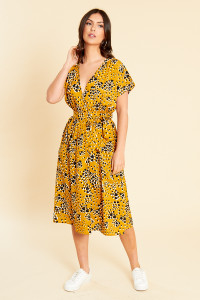 Mustard Heart Print Wrap Midi Dress