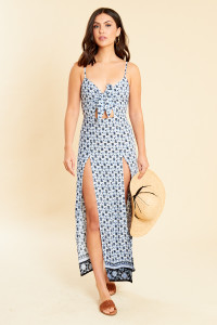 Blue Border Print Strappy Cami Tie Front Cut Out Maxi Beach Dress