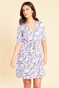 Lilac Floral Print Wrap Skater Dress with Belt and Tie Sleeves