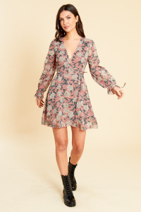 Dusty Pink Georgette Floral Mini Wrap Dress