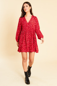 Red Squiggle Heart Print Mini Smock Dress