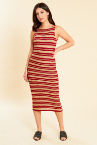 Retro Stripe Knit Cami Midi Dress