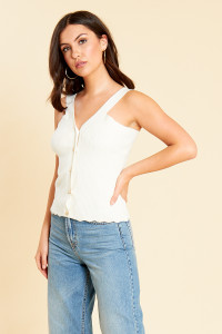 Knitted Button Front Cami Top