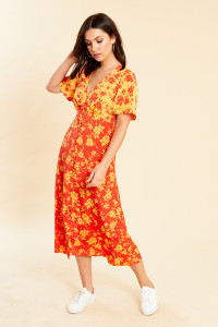 Mixed Floral Print Button Front Midi Dress