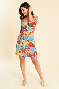 Frida Floral Tie Front Mini Dress