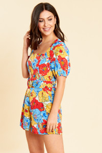 Frida Floral Puff Sleeve Belted Playsuit