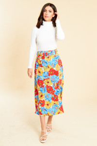 Frida Floral Belted Midi Skirt With Thigh Split