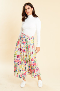 Vintage Floral Midaxi Pleated Skirt With Drop Waist
