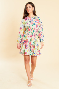 Vintage Floral Belted Mini Dress With Volume Skirt