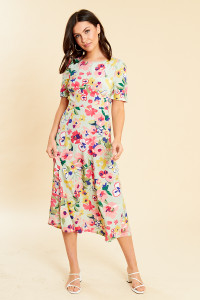 Vintage Floral Open Back Midi Dress With Puff Sleeves