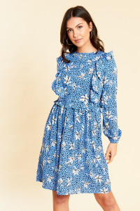 Blue Floral Print Midi Dress with Bib Detail