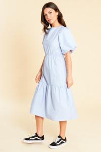 Blue Stripe Cotton Back Detail Puff Sleeve Dropped Hem Midi Dress