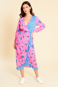 Mix and Match Floral Print Midi Wrap Dress with Frill Detail