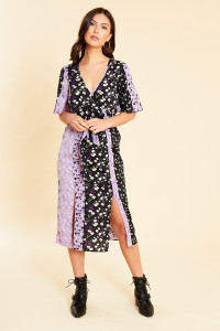 Black and Lilac Mixed Floral Print Wrap Midi Dress with Split Front