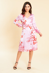 Satin Floral Print Midi Dress with Button Detail