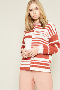 Colour Block Jumper Irregular Stripe In Contrast Yarn Stripes