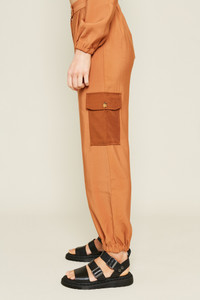 Cargo Trouser Fit With Contrast Patch Pockets and Button Detail at Waist