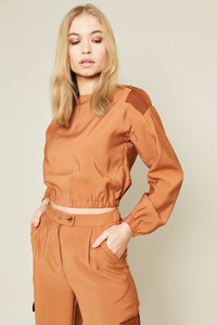 Oversized Cropped Shape Top With Shoulder Button Tabs