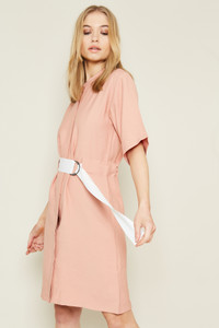Stand Collar Shift Dress With Contrast Belt At Waist With D-Ring